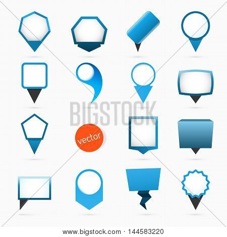 Pointers labels vector graphics, blue variant, location or position symbol, sale price tag
