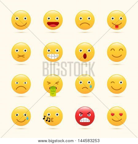 Emoticons set, Emoji icons, yellow color, Faces on white background vector illustration