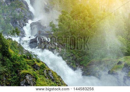 Scenic Waterfall in the Norway. Scenic Norwegian Landscape.
