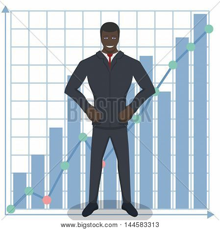 Business theme illustration. Young black businessman knows how to do business. This character is self-assured and ready for achievements.