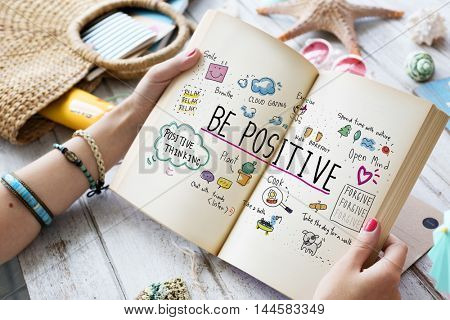 Positivity Message Cartoon Illustrations Concept