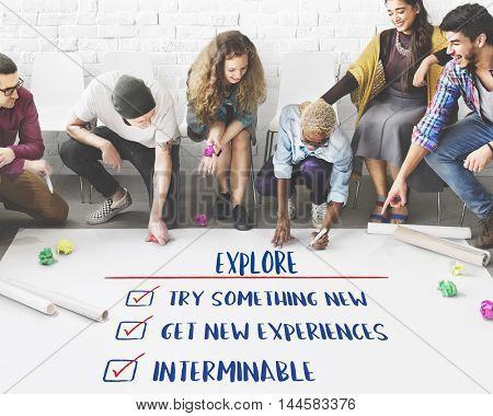 Goal Explore Aim Ambition Inspire Concept