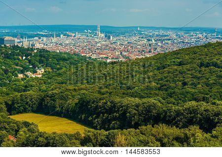 Vienna Countryside. Downtown Vienna Austria and Beautiful Nearby Hills Landscape.