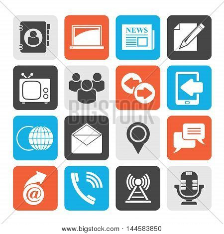 Silhouette Media and communication icons - vector icon set
