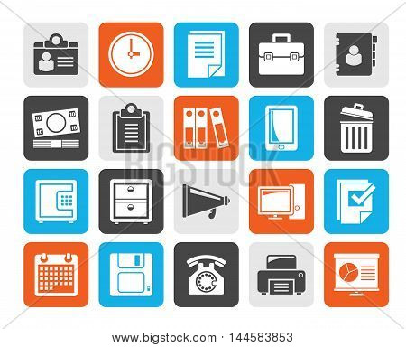 Silhouette Business and office supplies icons - vector icon set