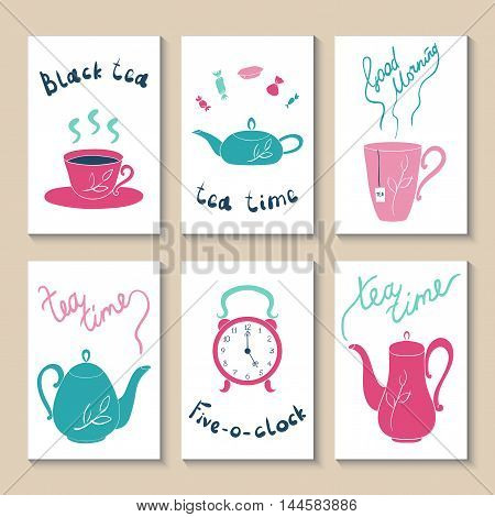 Cute doodle with cups, teapots, clocks and candy. Suitable for birthday, party, invitations, brochures. Vector illustration tea accessories drawn by hand in cartoon style. Printable templates set.
