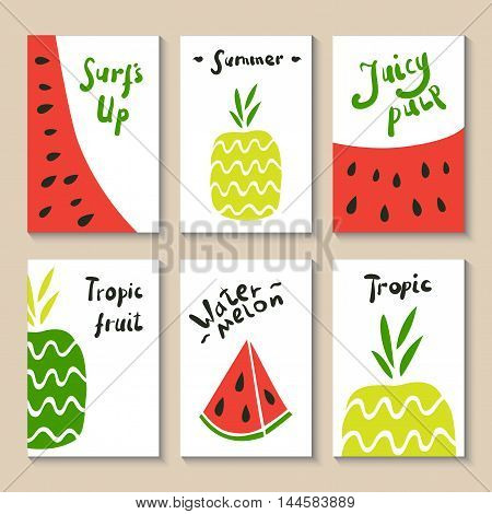 Cute doodle with watermelon and pineapple. Suitable for birthday, party, invitations, brochures. Vector illustration food drawn by hand in cartoon style. Printable templates set.
