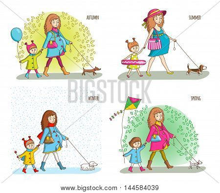 Pregnant woman, girl and dog. Four seasons. Spring, summer, autumn, winter Vector illustration in cartoon style
