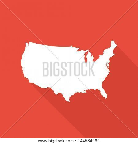 United States of America map illustration on a red background