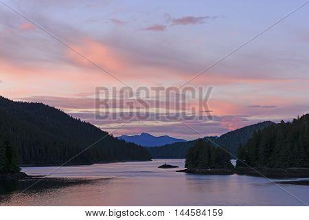 Twilight on the Inside Passage near Sitka Alaska