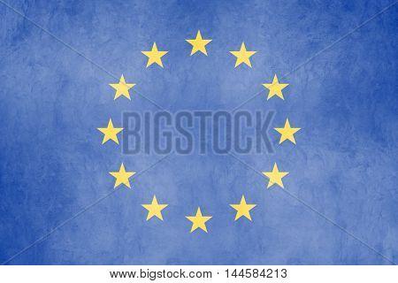 European union flag on a concrete wall