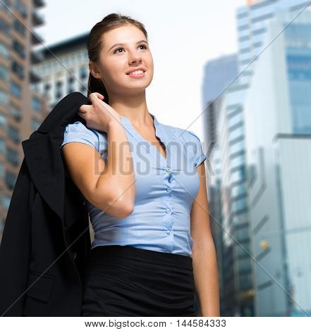 Young female manager outdoor