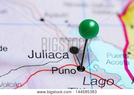 Puno pinned on a map of Peru