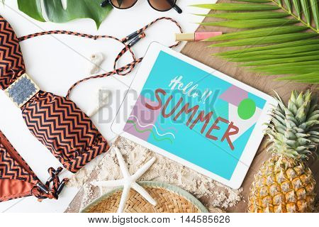 Summer Beach Bikini Sand Sunglasses Concept
