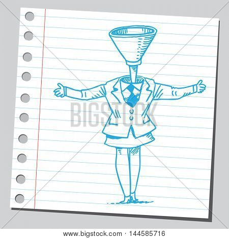 Businesswoman funnel