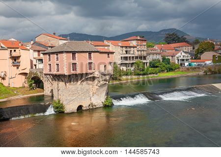 House built on the river in Millau City from France
