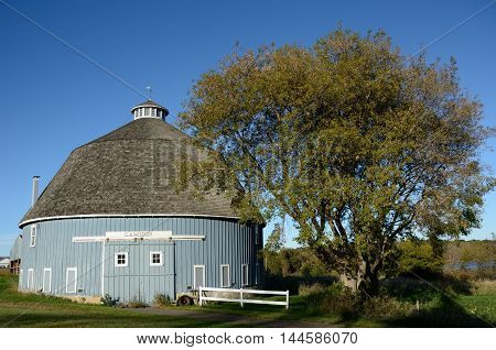 The Moody Blue Round Barn in Chisago Lake Township Chisago County Minnesota United States