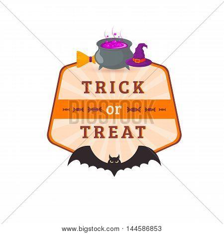 Halloween party badge design. Eps 10 vector illustration
