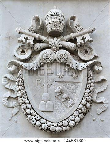 Pope Pius VII emblem in Pincio Gardens public park in Rome made in 1822