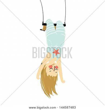 Vector illustration of a solo girl hanging upside down on acrobats swing isolated. vector
