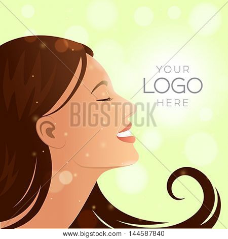 Natural woman brunette profile with glowing background