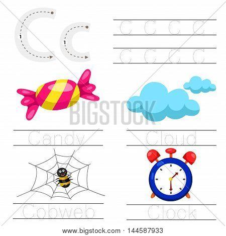 Illustrator of Worksheet for children c font