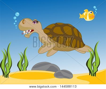 The Amphibian sea terrapin sails in water.Vector illustration