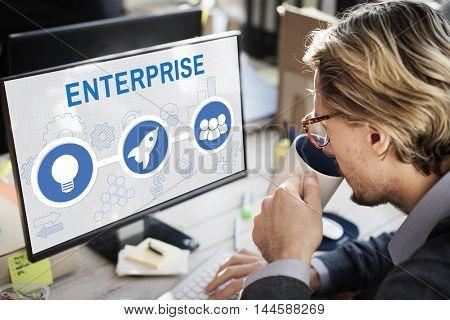 Start Up Business Rocket Ship Graphic Concept