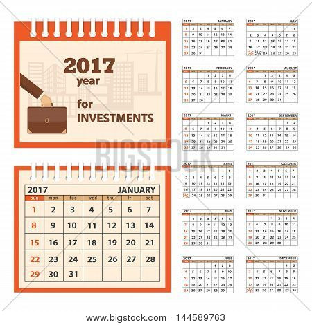 Business calendar for desk on 2017 year. Set of the 12 month isolated pages with image on the cover. Week starts on Sunday. eps 10