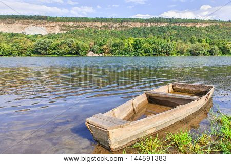 old wooden boat on a beautiful idyllic place