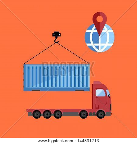 Container truck isolated icon on flat vector design