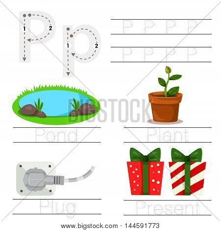 Illustrator of Worksheet for children P font