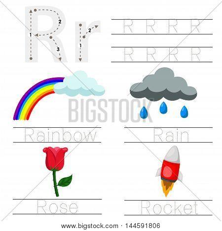 Illustrator of Worksheet for children r font
