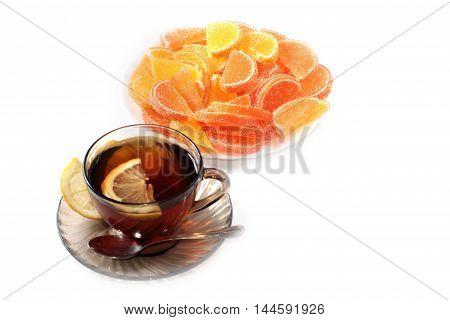 jujube and slices of sweet tea with lemon