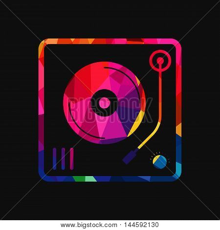 Abstract vinyl turntable polygon low-poly colorful geometric background vector illustration