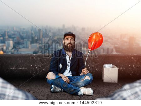 Vagrant with ballon