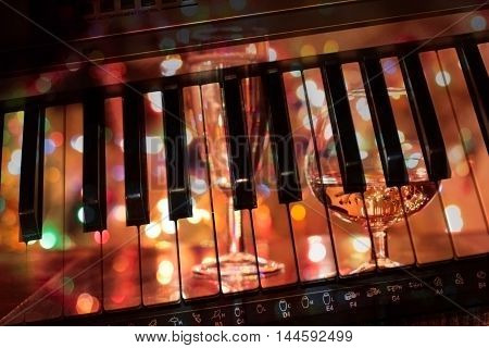 abstract image with black and white piano keys
