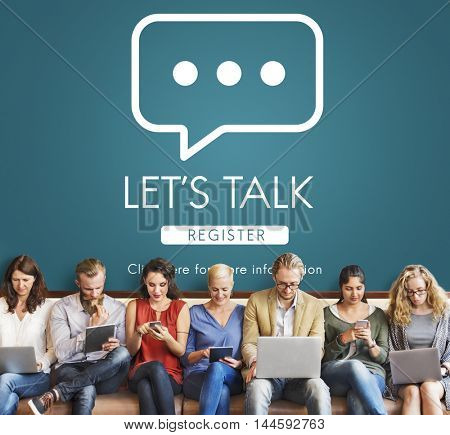Let's Talk Online Conversation Message Concept