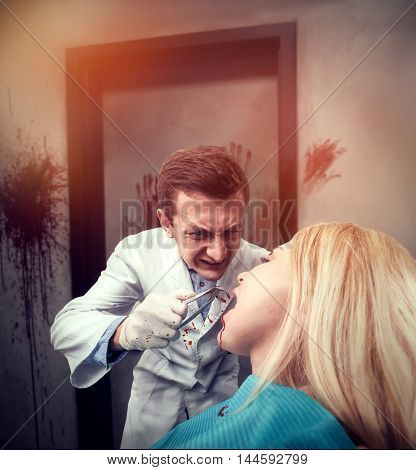 Dentist working with woman
