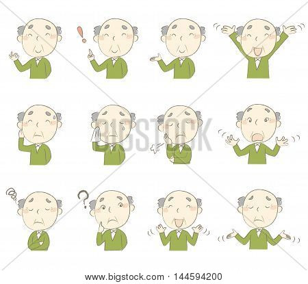 Set of senior man's various poses and emotions