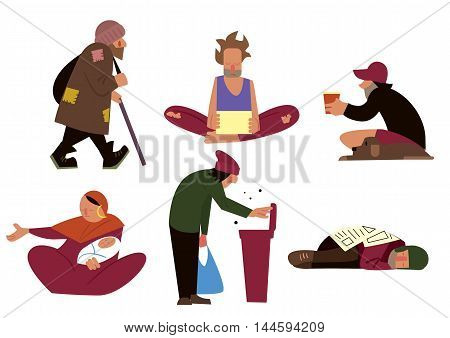Homeless people, tramps, beggars and panhandlers characters isolated on white background vector illustration. Homeless people. Homeless isolated. Cartoon homeless. Poverty person. Beggar.