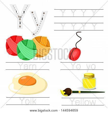 Illustrator of Worksheet for children y font