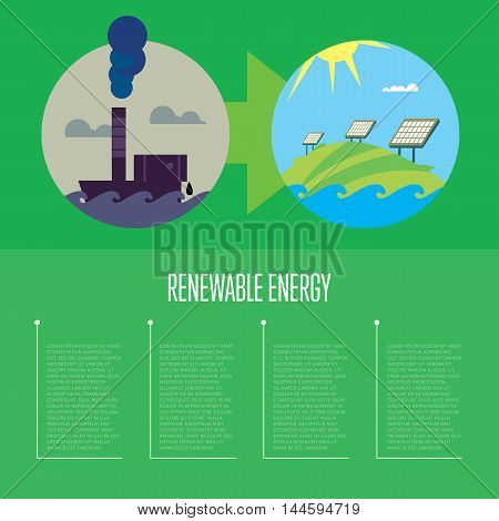 Vector illustration of evolution from industrial pollution to clean energy. Greening of the world. Green ecology infographics template with space for text. Traditional and alternative resources.
