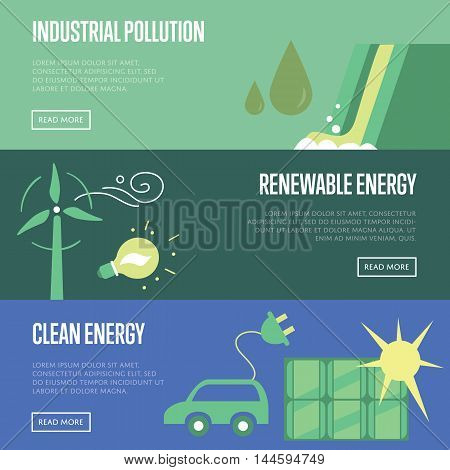 Industrial pollution, renewable and clean energy vector illustration set. Wind turbine with eco lamp. Eco car with electric plug and solar panel. Water pollution from industrial factory. Clean energy concept. Energy of the Future. Renewable energy sources