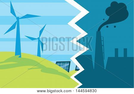 Vector illustration of evolution from industrial pollution to clean energy. Greening of the world banner. Traditional and alternative natural electricity resources. Development green technology. Clean energy concept. Energy of the Future. Renewable energy