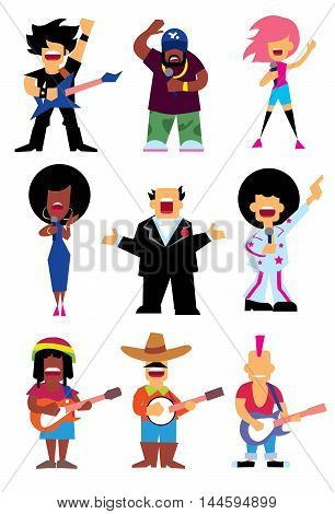 Singers silhouette of different musical genres set isolated on white background vector illustration. Singers isolated. Vector singers silhouette. Rockstar. Reggae singer. Rap singer. Singer cartoon people.