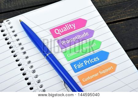 Business Values text on sticky colorful arrows