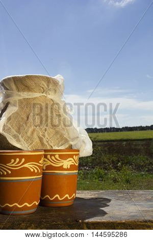 Clay jug with milk on a background of the rural landscape