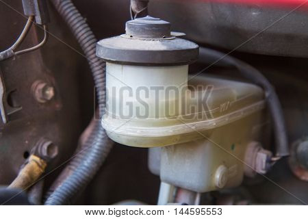 Selective focus to Brake oil tank of old car