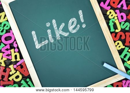 Like text on school board and magnetic letters